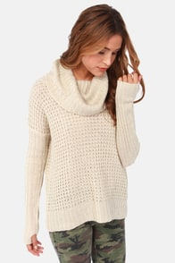 Element Eden Monsoon Beige Cowl Neck Sweater at Lulus.com!