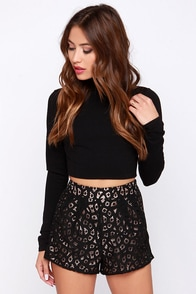 Romantic Antics High-Waisted Black Lace Shorts at Lulus.com!