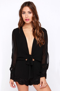 Orchid and Play Embroidered Black Romper at Lulus.com!
