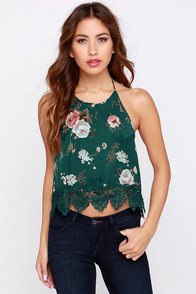 Sugar Pine Dark Green Floral Print Crop Top at Lulus.com!