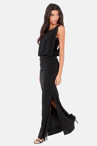 Rubber Ducky Here Comes the Glide Black Maxi Dress
