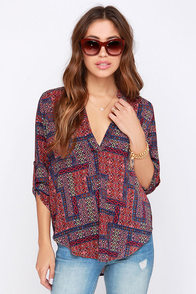 V-sionary Wine Red Tile Print Top at Lulus.com!
