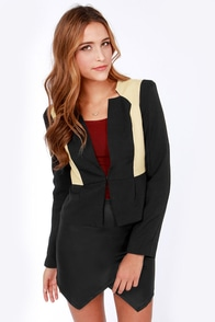 It's a Neutral Day Beige and Black Cropped Jacket at Lulus.com!