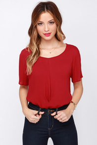Anything Goes Red Top at Lulus.com!