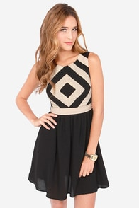 Couldn't Help But Square Beige and Black Dress at Lulus.com!
