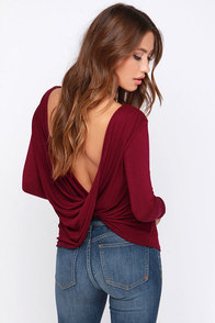 LULUS Exclusive Scoop de Ville Burgundy Long Sleeve Top at Lulus.com!
