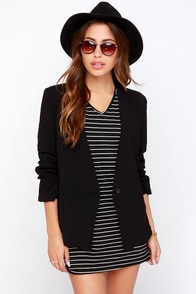 Office Politics Black Blazer at Lulus.com!