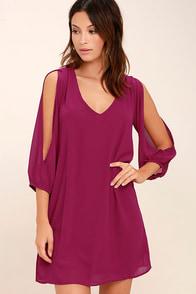 LULUS Exclusive Shifting Dears Magenta Long Sleeve Dress
