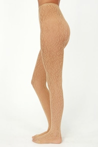 Hottie Dottie Day Beige Fishnet Tights at Lulus.com!
