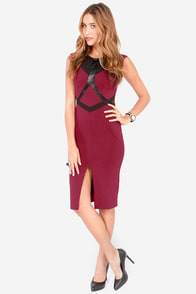 Look Lively Black and Wine Red Dress at Lulus.com!