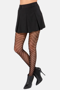 Seventh Chevron Black Fishnet Tights at Lulus.com!