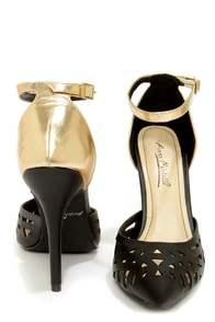 Anne Michelle Spiral 11 Black and Gold Cutout Pointed Pumps at Lulus.com!