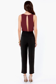 Quantum Leap Burgundy and Black Jumpsuit at Lulus.com!