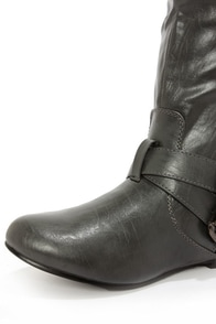 Bianca 5 Grey Zipped and Belted Riding Boots at Lulus.com!