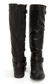 Ardie 1 Black Buckled Riding Boots at Lulus.com!