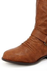Ardie 1 Tan Buckled Riding Boots at Lulus.com!