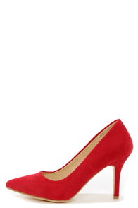 Karla 5 Red Suede Pointed High Heels at Lulus.com!