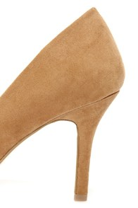 Karla 5 Light Tan Suede Pointed High Heels at Lulus.com!