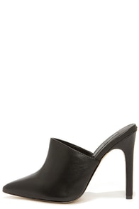 Mia Limited Jethro Black Leather Pointed Toe Mules at Lulus.com!