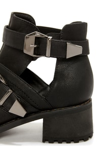 Bell 1 Black Belted Cutout Ankle Boots at Lulus.com!