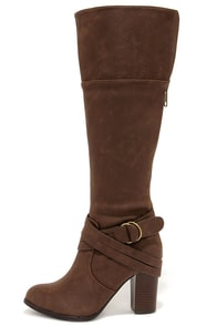 Lift Off Dark Taupe Knee High Heel Boots at Lulus.com!