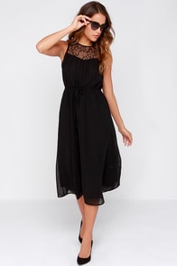Special Edition Black Lace Midi Dress at Lulus.com!