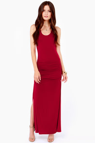 Ruche Hour Red Maxi Dress at Lulus.com!