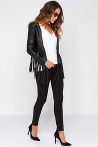 Wild Thing Black Vegan Leather Fringe Jacket at Lulus.com!