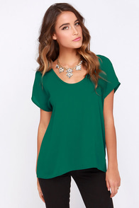 Jewel Be Mine Forest Green Top at Lulus.com!