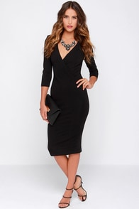 LULUS Exclusive Highest Caliber Black Midi Dress at Lulus.com!