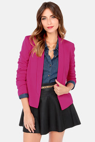 All In a Day's Work Magenta Blazer at Lulus.com!