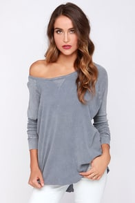 Project Social T Queen of the Scene Grey Long Sleeve Top at Lulus.com!