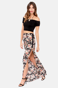 Rose Garden Floral Print Maxi Skirt at Lulus.com!
