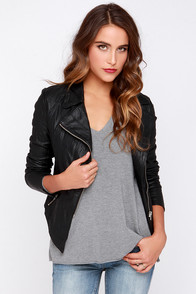 BB Dakota Merlyn Black Vegan Leather Jacket at Lulus.com!