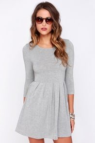 Keen About You Heather Grey Skater Dress at Lulus.com!