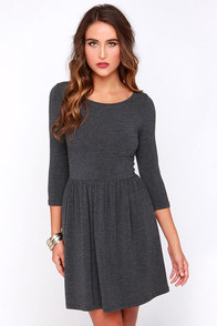 Set the Scene Dark Grey Skater Dress at Lulus.com!