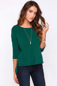 Sugar for Your Tee Dark Green High-Low Top at Lulus.com!