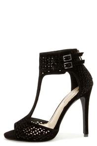 Anne Michelle Perton 22 Black Cutout T-Strap Heels at Lulus.com!