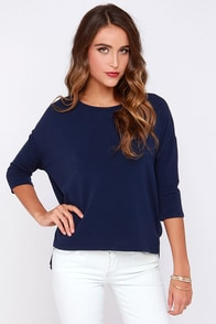 Sugar for Your Tee Navy Blue High-Low Top at Lulus.com!