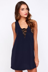 BB Dakota Gracyn Navy Blue Shift Dress at Lulus.com!