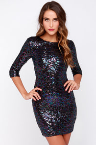 BB Dakota Villette Black Iridescent Sequin Dress at Lulus.com!