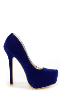 Speed Limit 98 Vivian Blue Curvy Platform Pumps at Lulus.com!