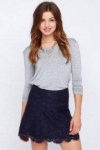 BB Dakota Kingsling Navy Blue Lace Skirt at Lulus.com!