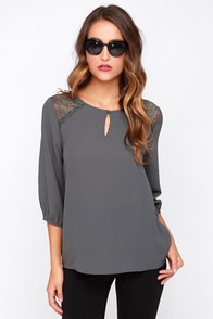 Touch and Flow Grey Top at Lulus.com!