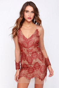 Beautiful Mesh Tan and Wine Red Lace Dress at Lulus.com!