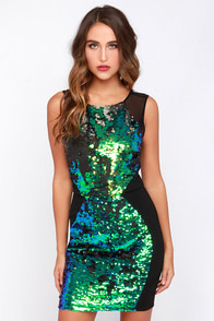 Acute Spangles Green and Black Sequin Dress at Lulus.com!