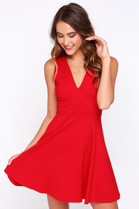 Queen Sweep Red Dress at Lulus.com!