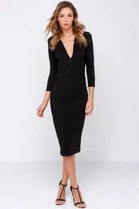 Lovers + Friends Heartache Black Midi Dress at Lulus.com!