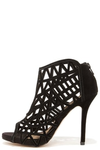 Kensie Brenda Black Suede Leather Caged Peep Toe Booties at Lulus.com!