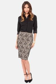 Pretty Pretty Pencil Beige and Black Lace Pencil Skirt at Lulus.com!